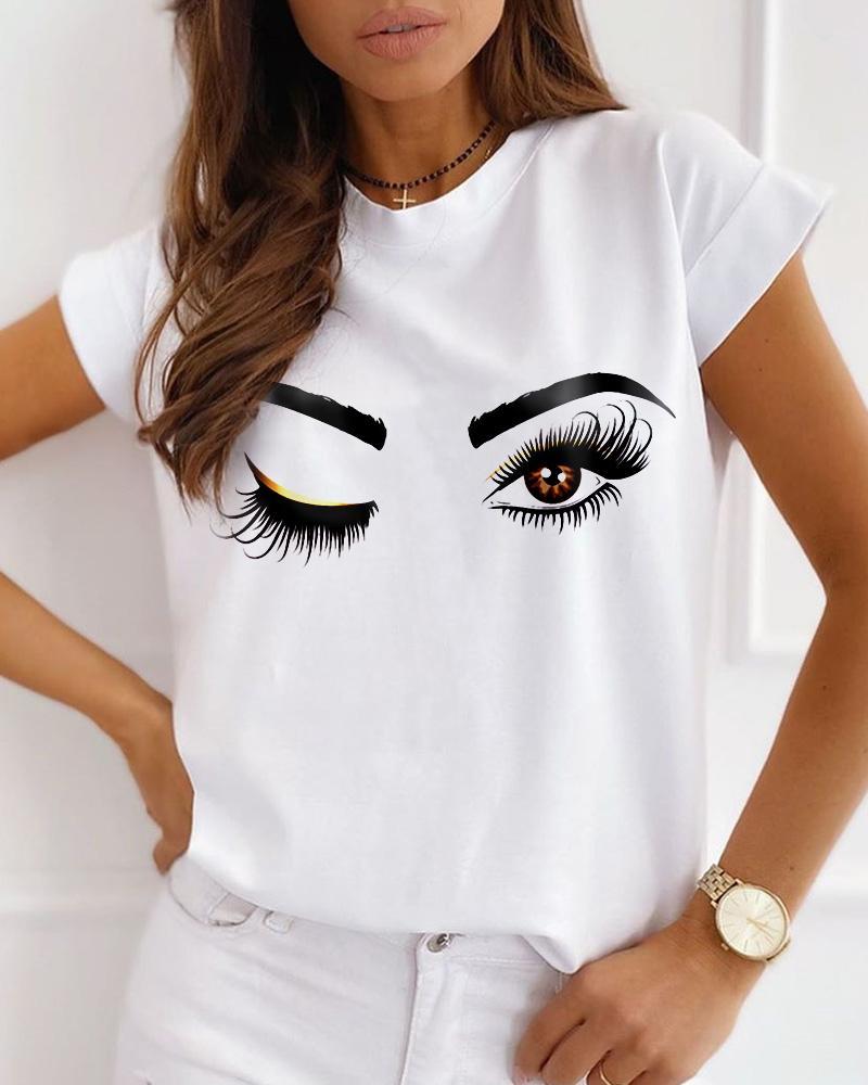 Eyes Print Short Sleeve Casual T-shirt thumbnail