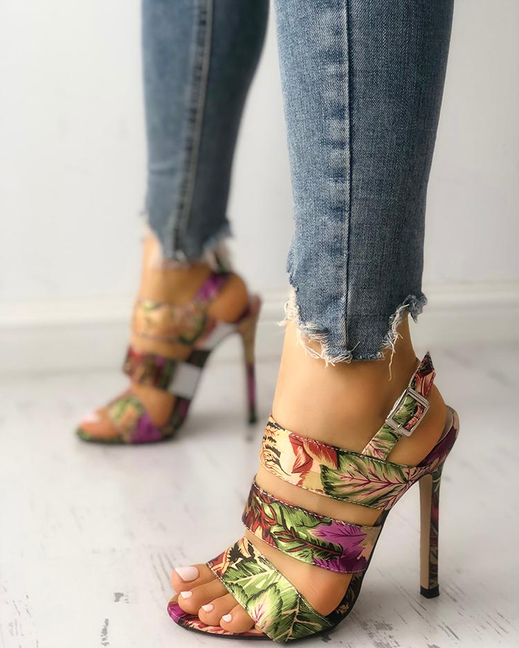 Leaf Print Bandage Thin Heeled Sandals
