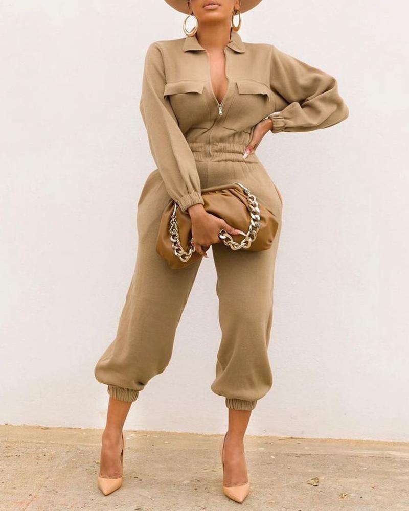 Zipper Pocket Design Long Sleeve Casual Jumpsuit