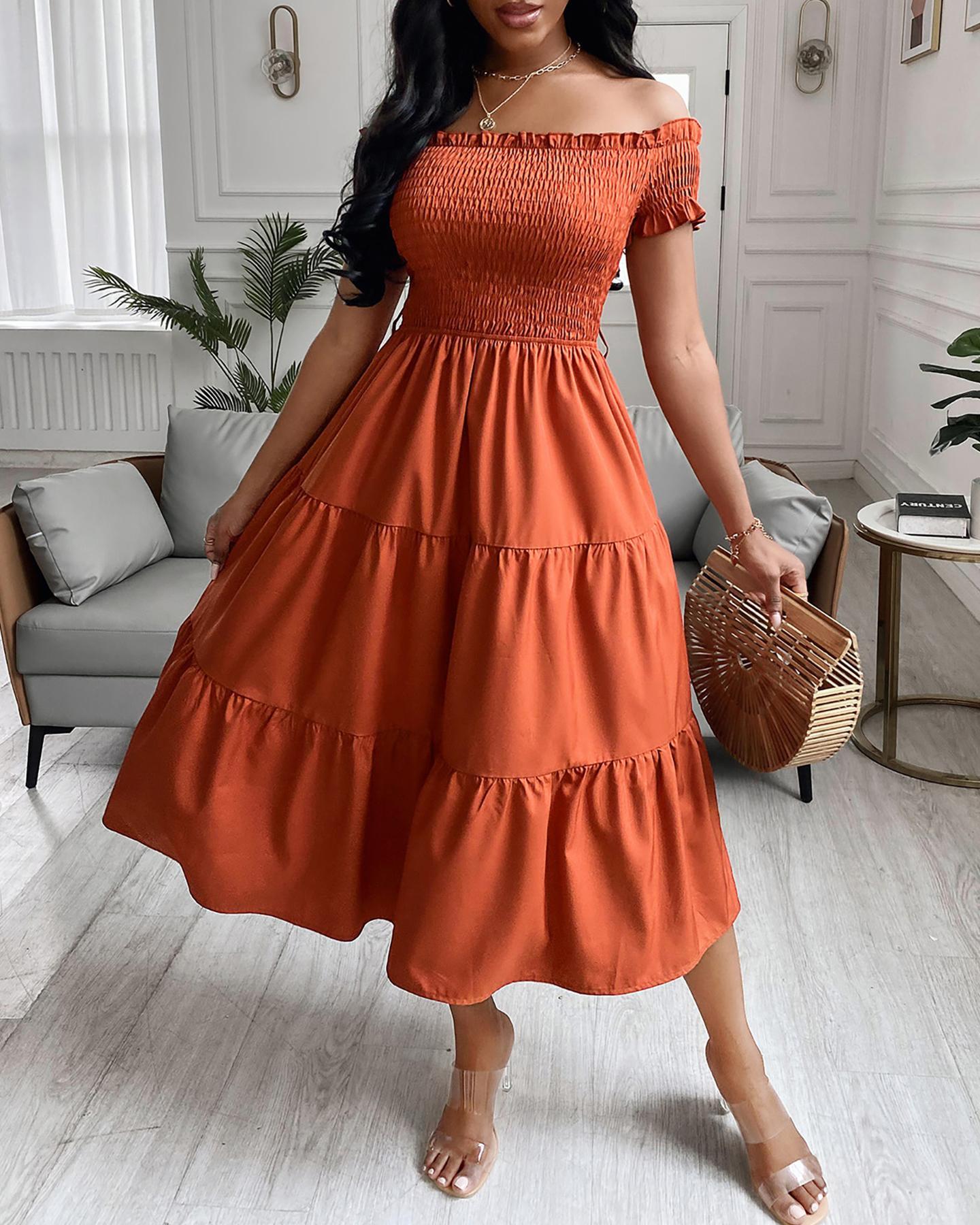 Solid Off Shoulder Frill Trim Shirred Bodice Layered Dress