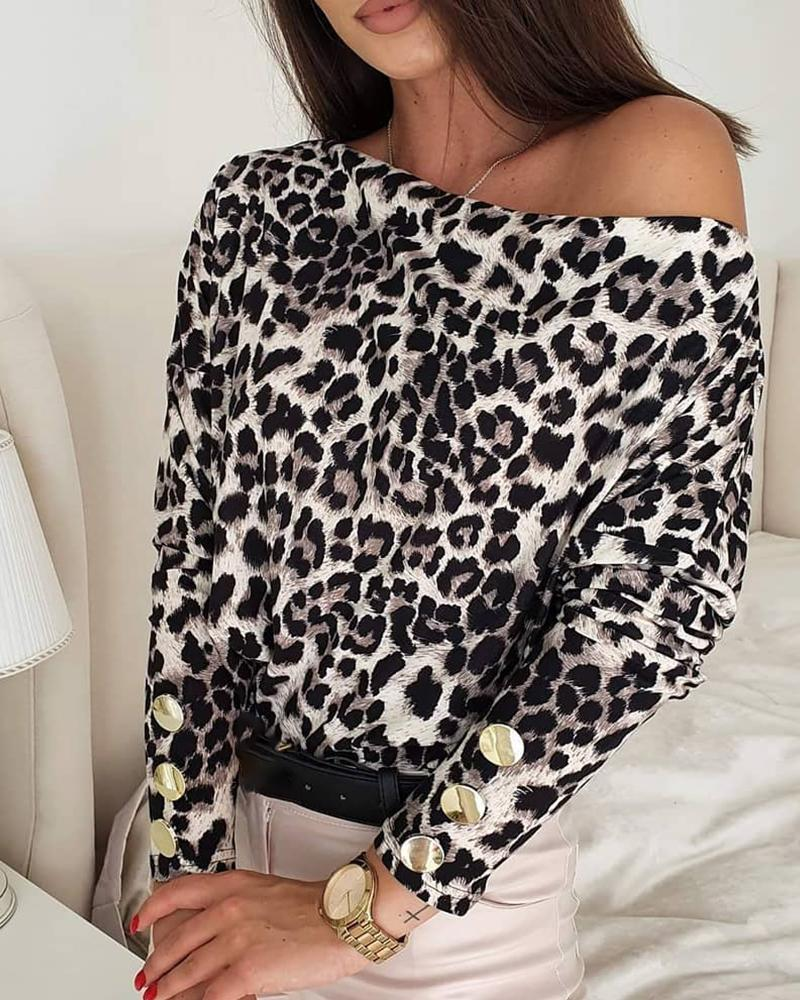 Cheetah Print Button Design Long Sleeve Top