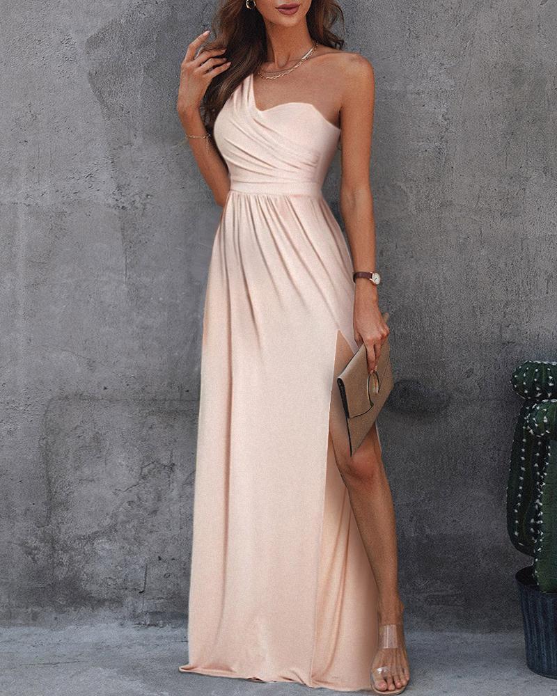 Solid One Shoulder Ruched High Slit Maxi Dress Sleeveless Elegant Cocktail Dress Party Dress