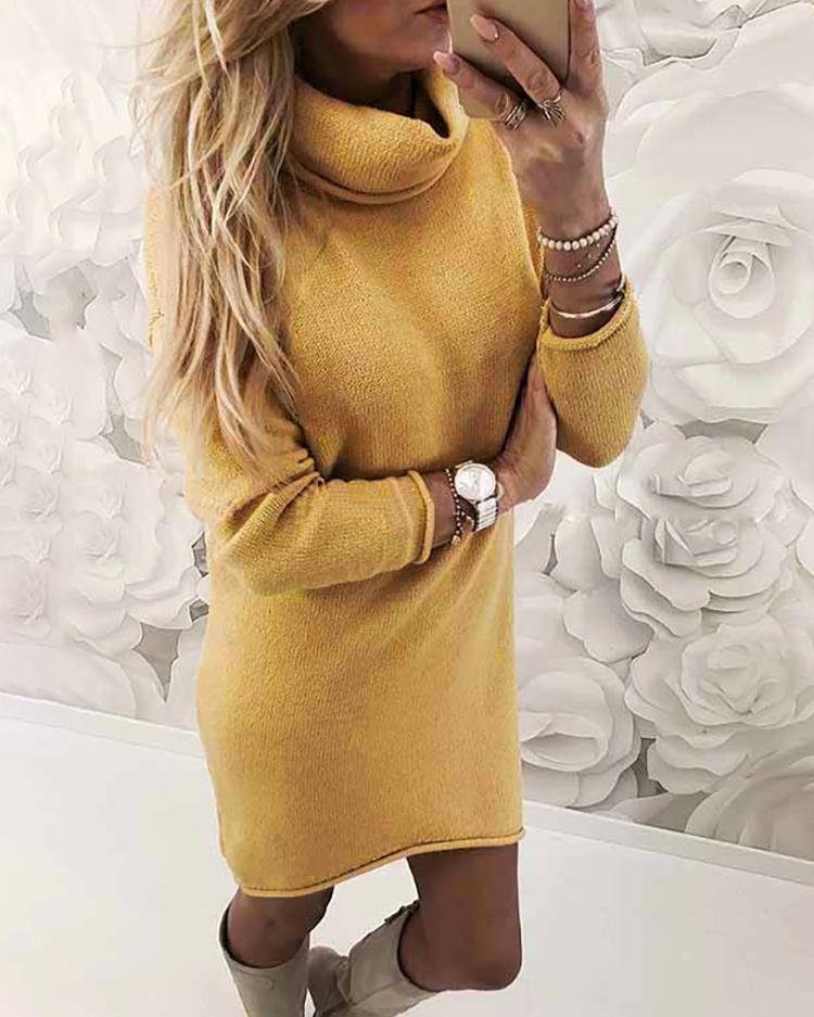 Joyshoetique coupon: Turtle Neck Slim Fit Plain Sweater Dress