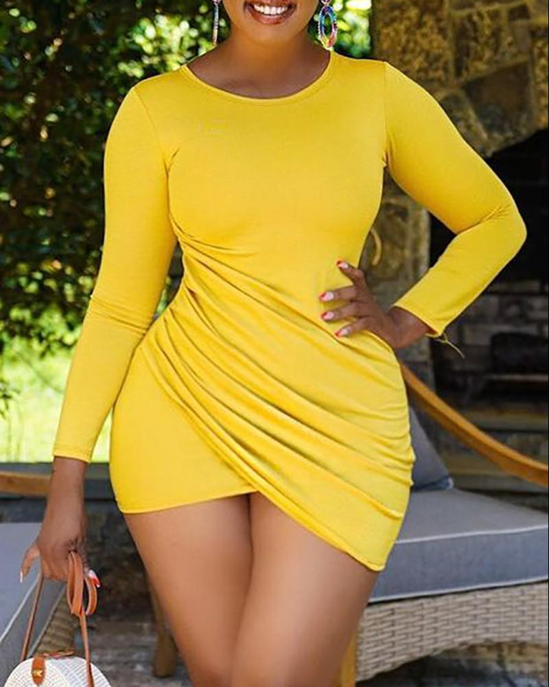 Round Neck Ruched Long Sleeve Bodycon Dress