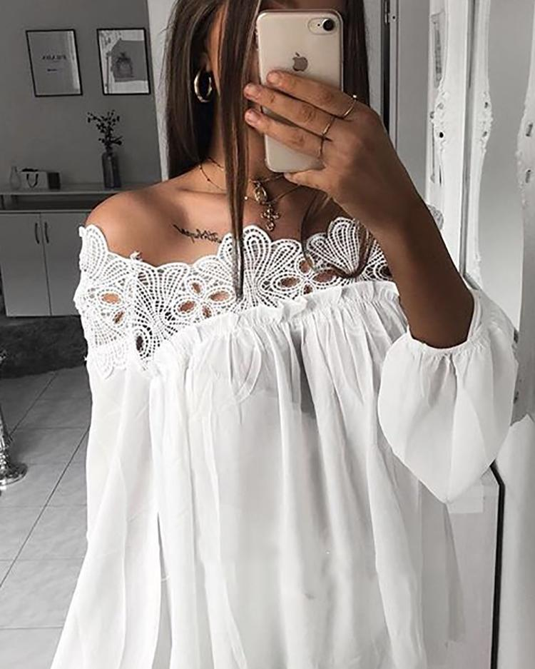 ChicMe coupon: Crochet Lace Splicing Off Shoulder Casual Blouse