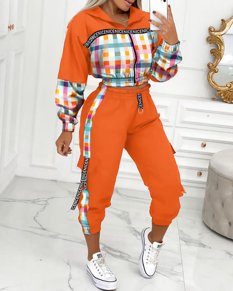 Plaid Print Colorblock Tape Zip Front Hooded Coat & Cargo Pants Set