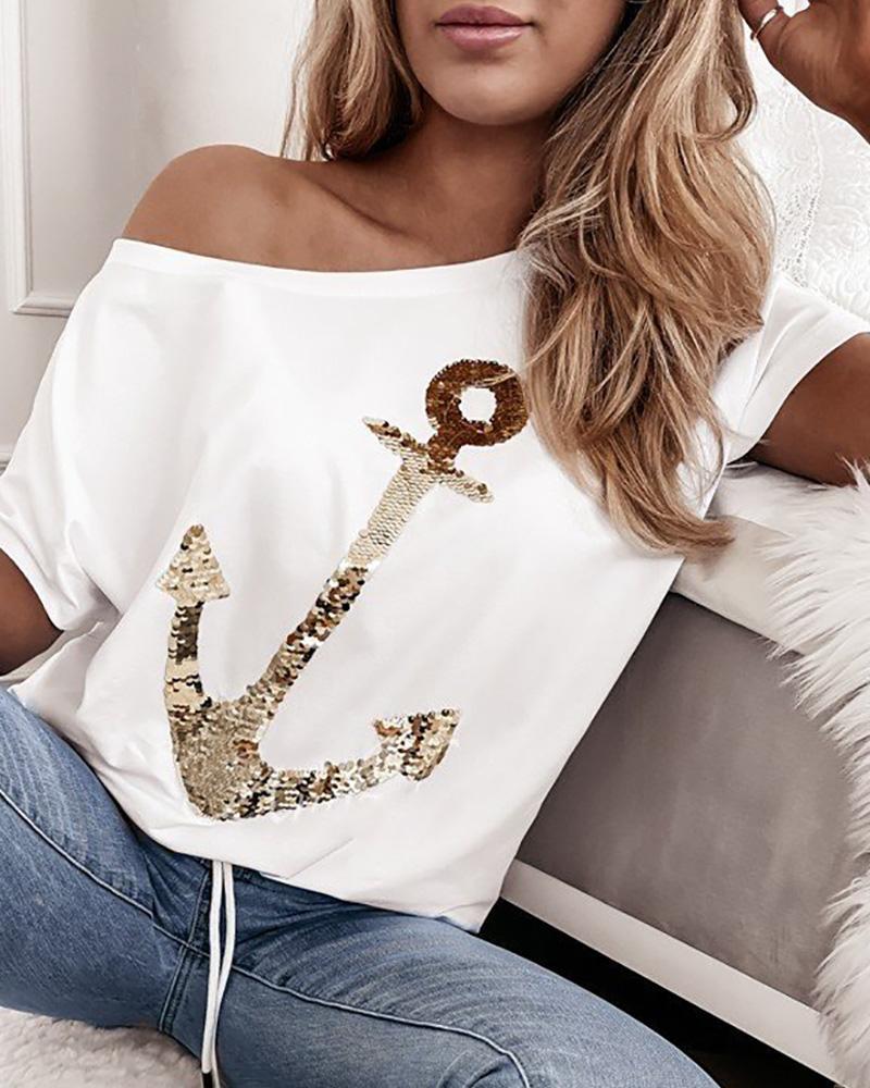 Ivrose coupon: Boat Anchor Pattern Sequins Short Sleeve T-shirt