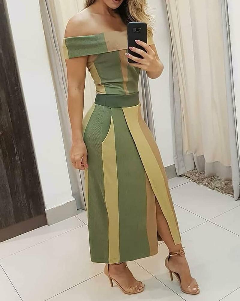 Colorblock Off Shoulder High Slit Maxi Dress thumbnail