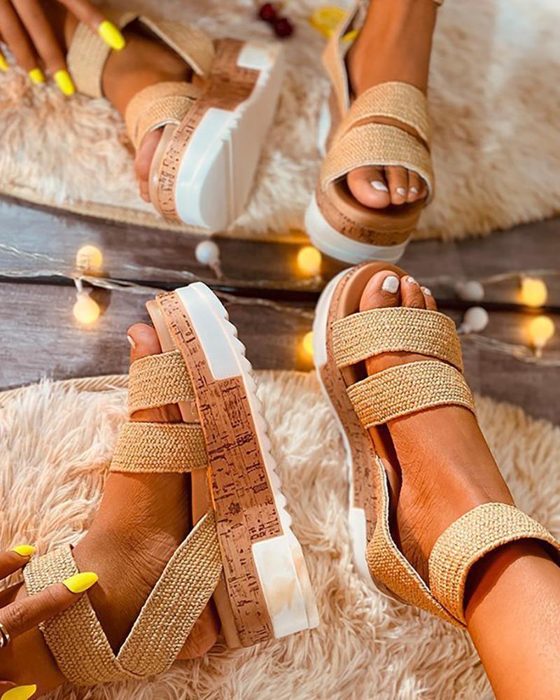 Open Toe Ankle Strap Cork Platform Sandals thumbnail