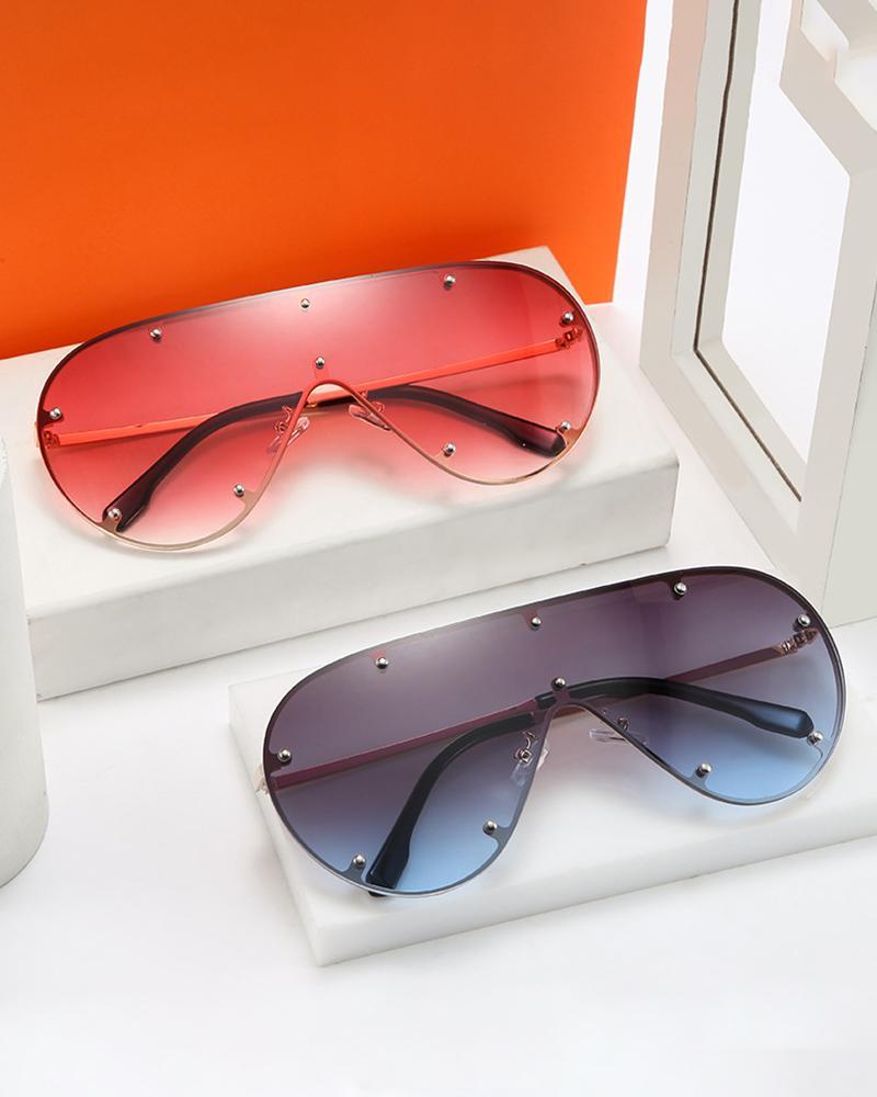 1Pair Metal Decor Ombre Lens Flat Top Sunglasses