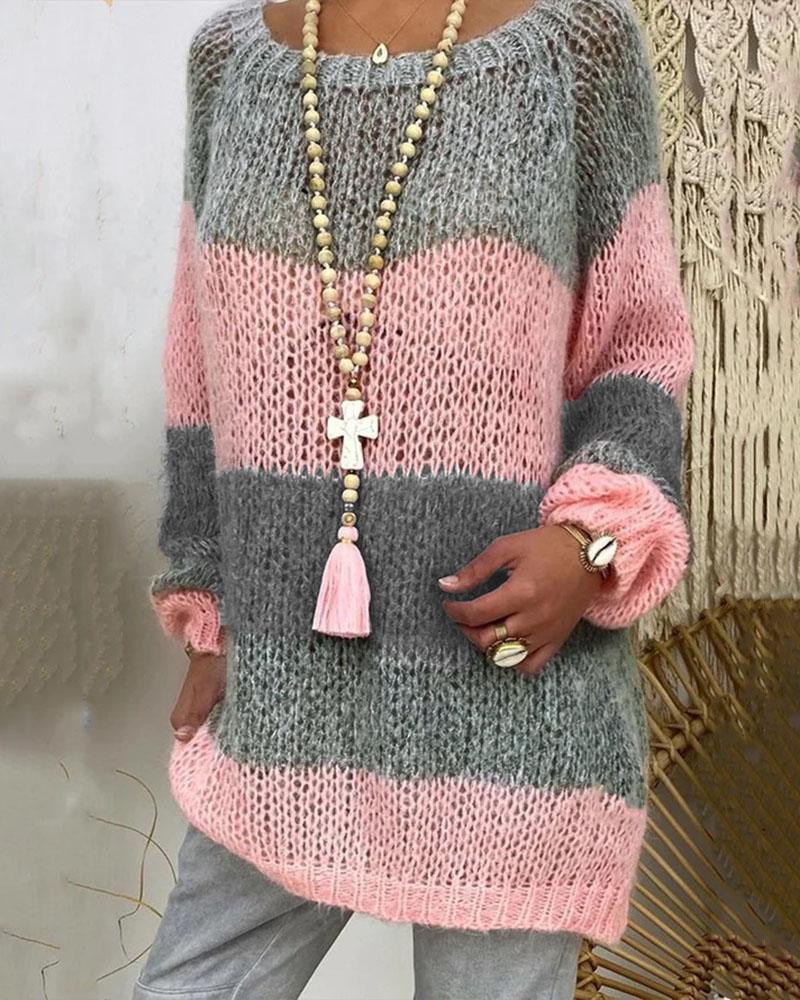 Color Block Bishop Sleeve Sweater