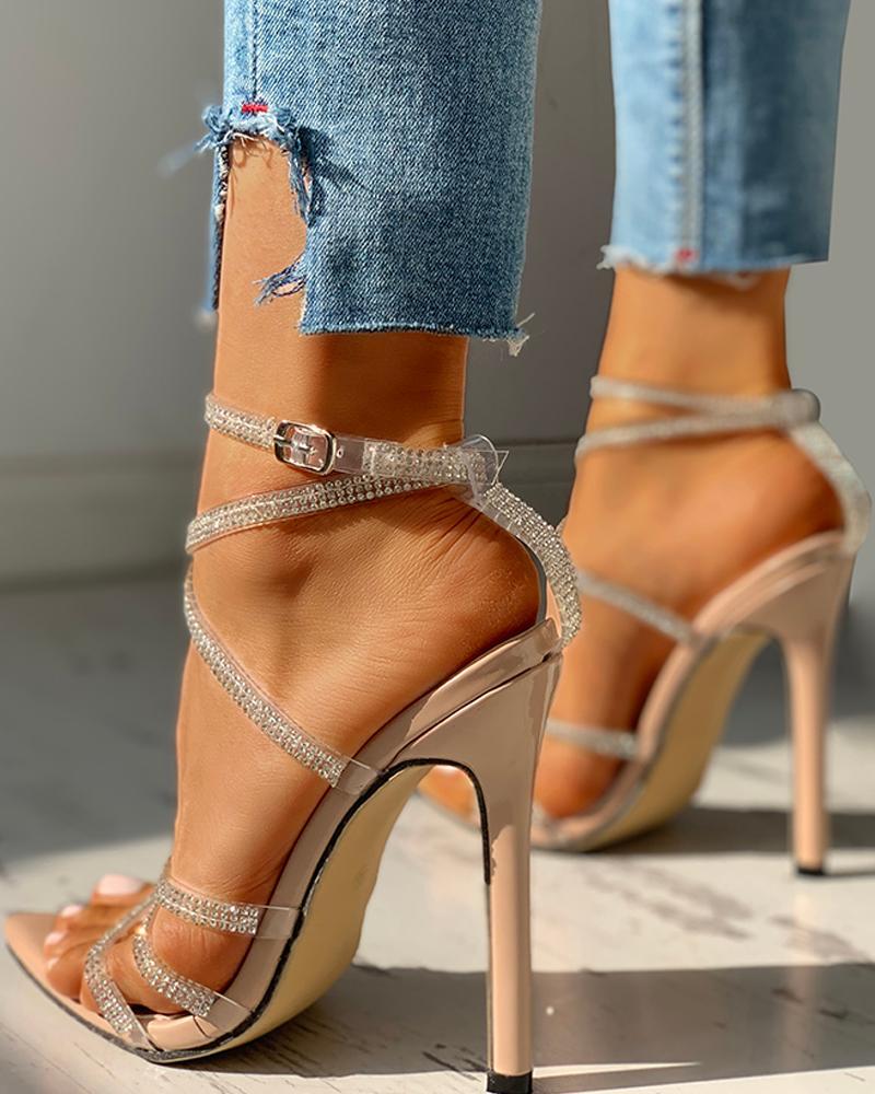 Rhinestone Multi Strap Lace-Up Thin Heeled Sandals, Apricot