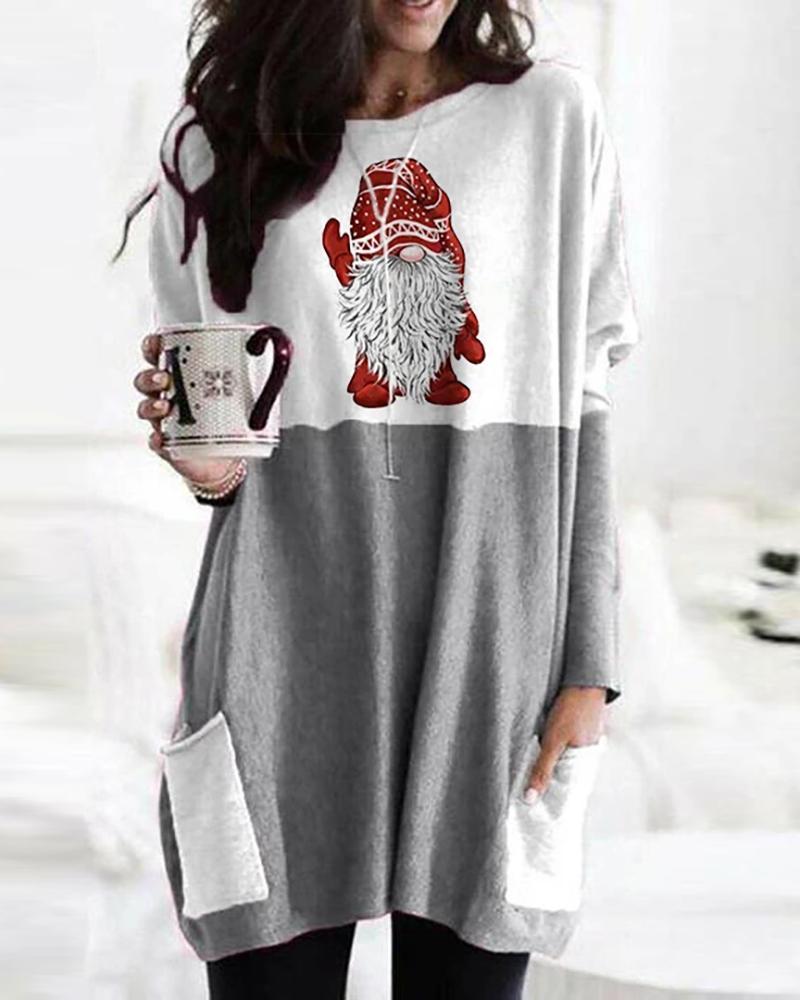 Christmas Santa Print Pocket Design Casual Sweatshirt
