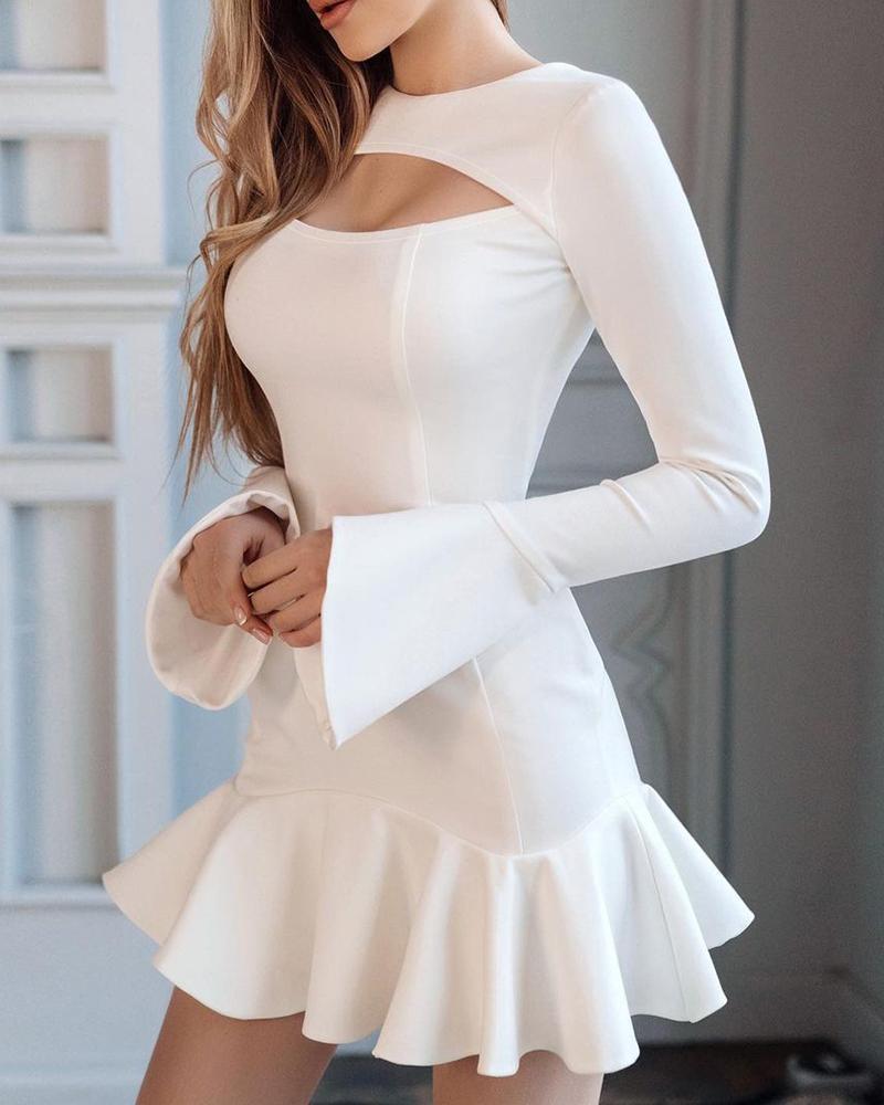 Plain Flared Sleeve Ruffle Hem Cutout Dress, White