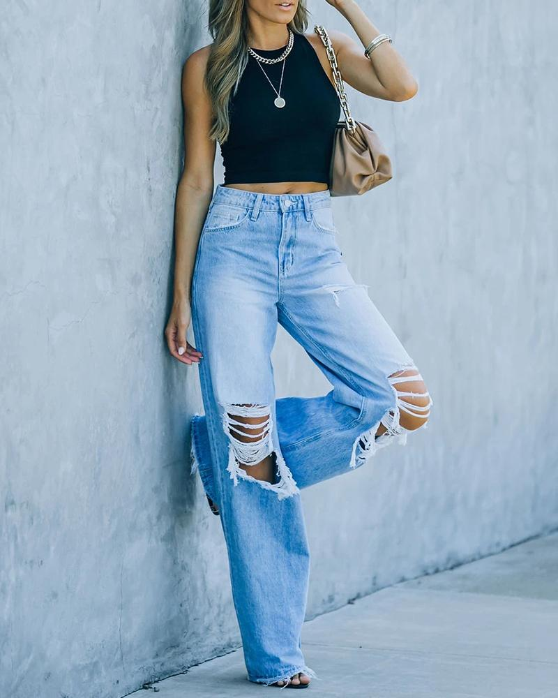 Colorblock Ripped Cutout High Waist Jeans
