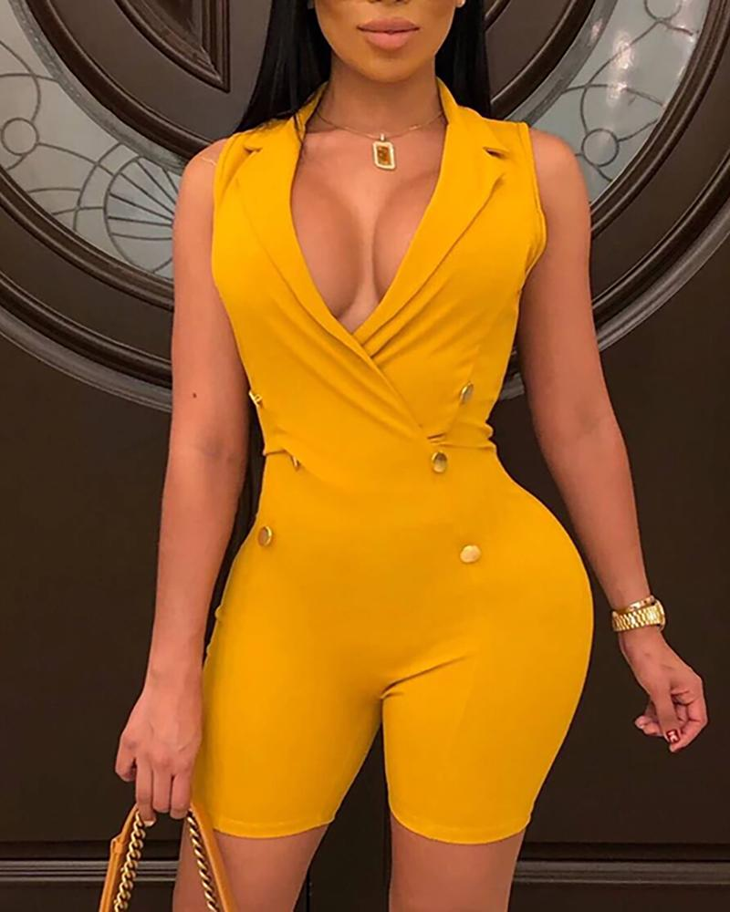 Solid Notched Collar Double-breasted Romper