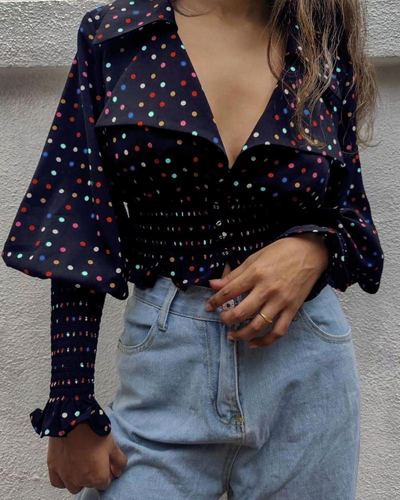 Polkadot Print Lantern Sleeve Shirred Top