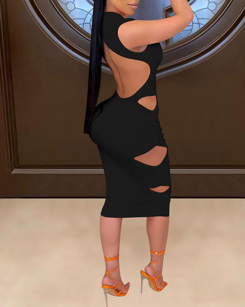 Cutout Sleeveless Skinny Midi Dress thumbnail