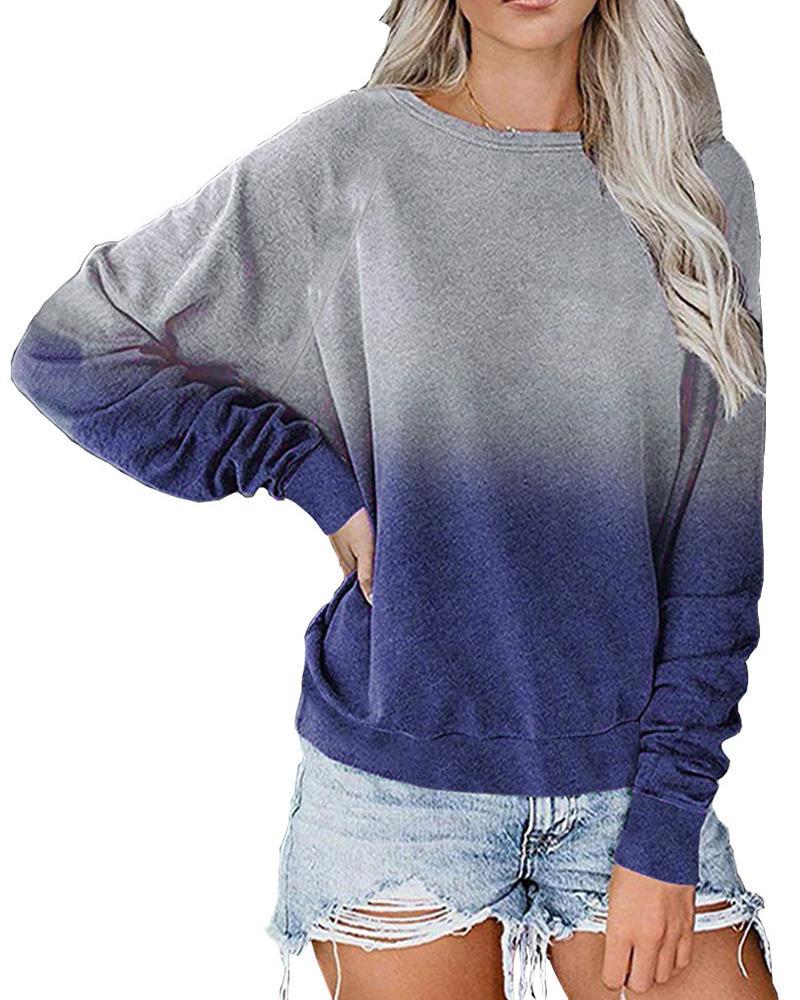 Ombre Colorblock Long Sleeve Casual Sweatshirt