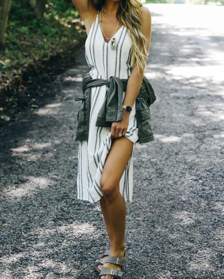 Boutiquefeel coupon: Deep V Striped Print Slit Side Casual Dress