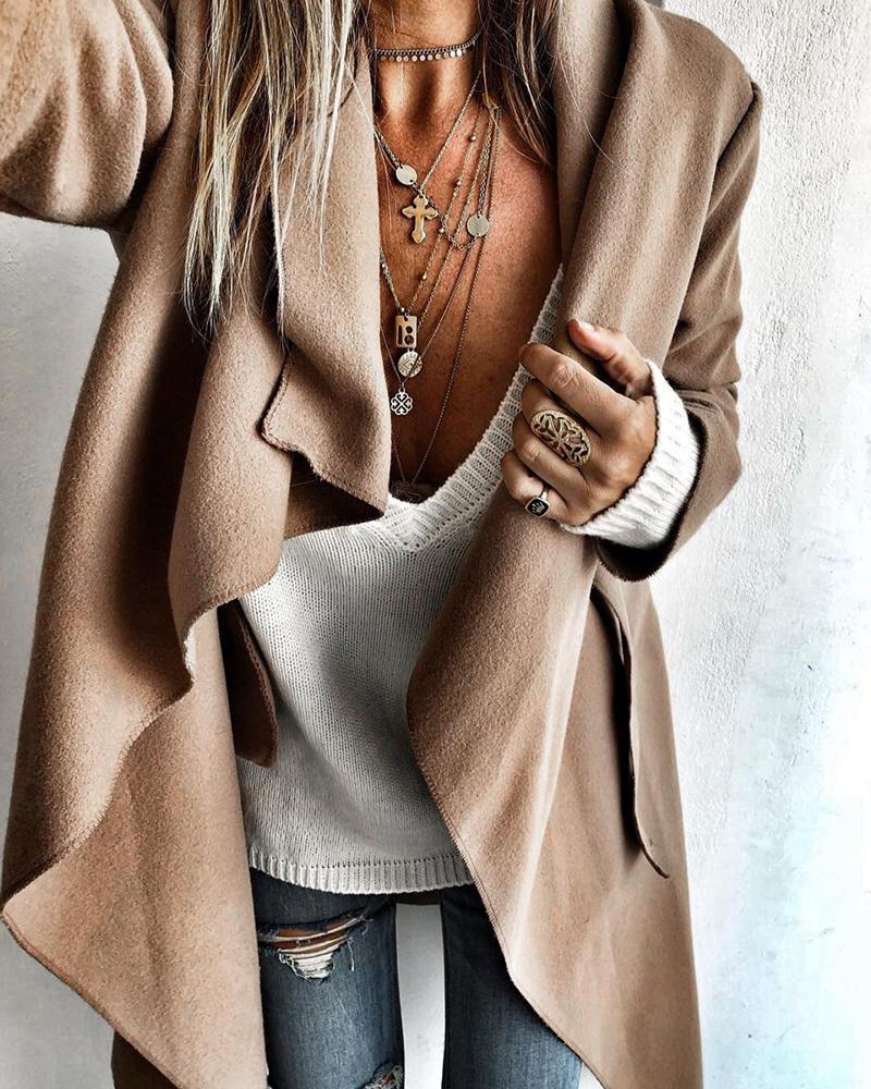 Asymmetrical Long Sleeve Casual Coat