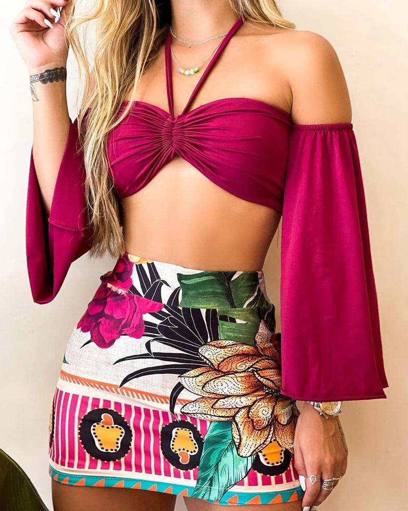 Halter Lantern Sleeve Top & Floral Print Short Skirt Set