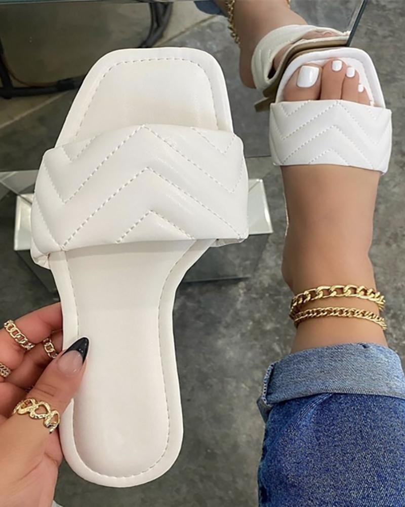 Quilted Square Toe Slide Flat Sandals
