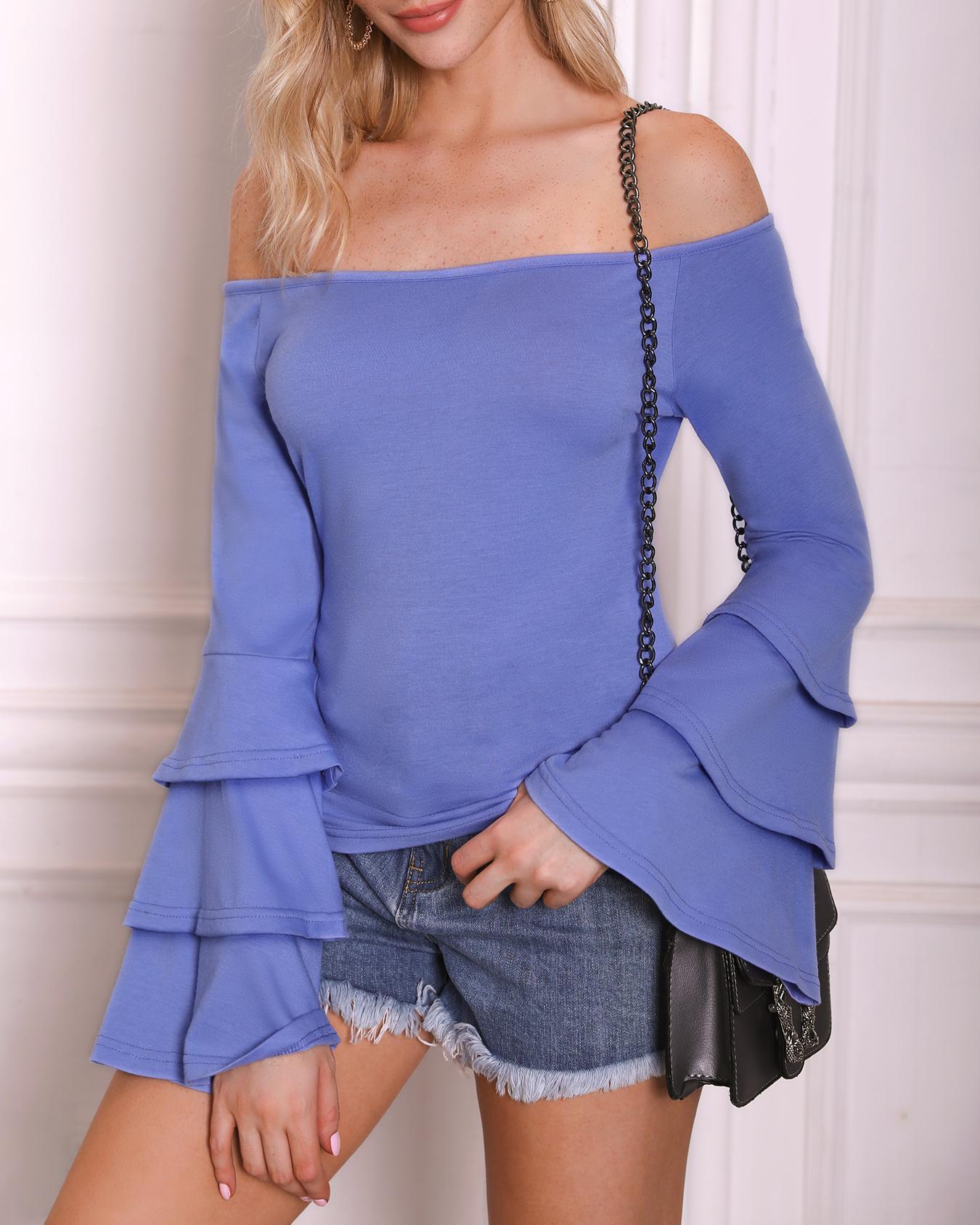 Solid Layered Flared Sleeve Bardot Top