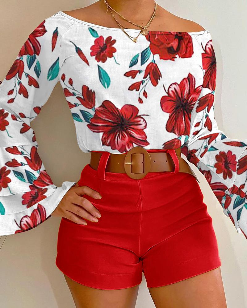 Bell Sleeve Floral Print Top & Shorts Set