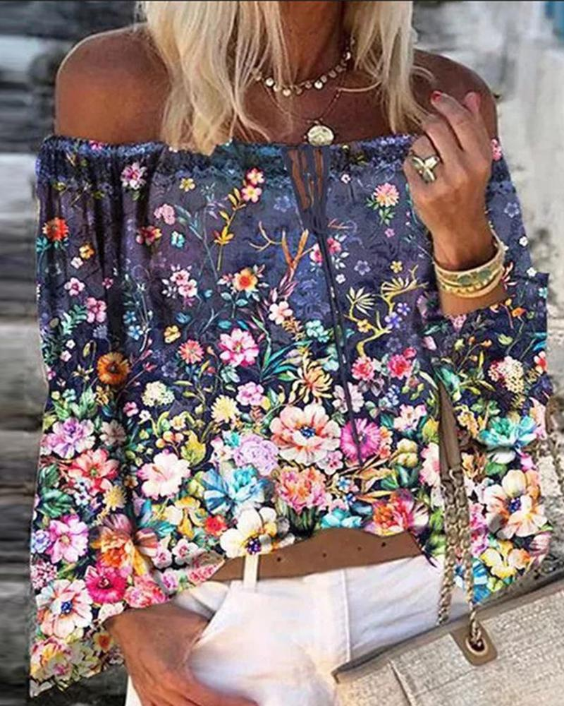 Off Shoulder Floral / Graphic / Butterfly Print Tie Front Top
