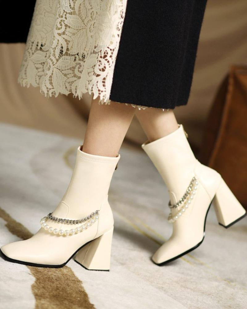 Womens Faux Pearl Chain Decoration Square Toe High Heel Booties