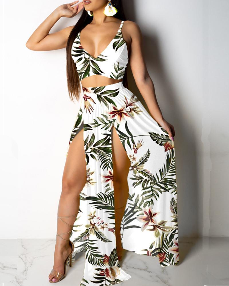 Tropical Print Cami Top & Thigh Slit Skirt Sets