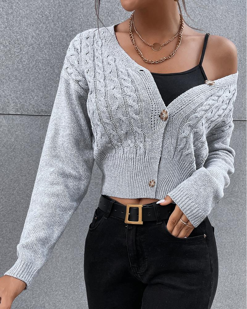 V-Neck Braided Button Front Cardigan