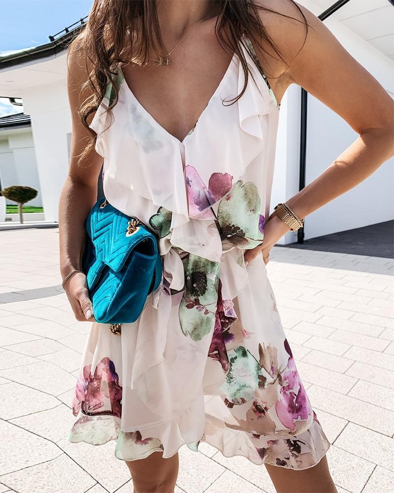 Floral Print Sleeveless Loose Mini Dress
