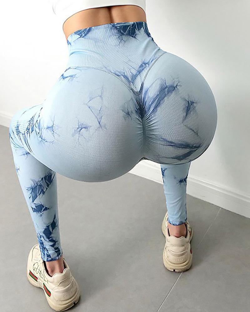 Boutiquefeel coupon: Tie Dye Print Scrunch Butt Leggings High Waist Tummy Control Yoga Pants