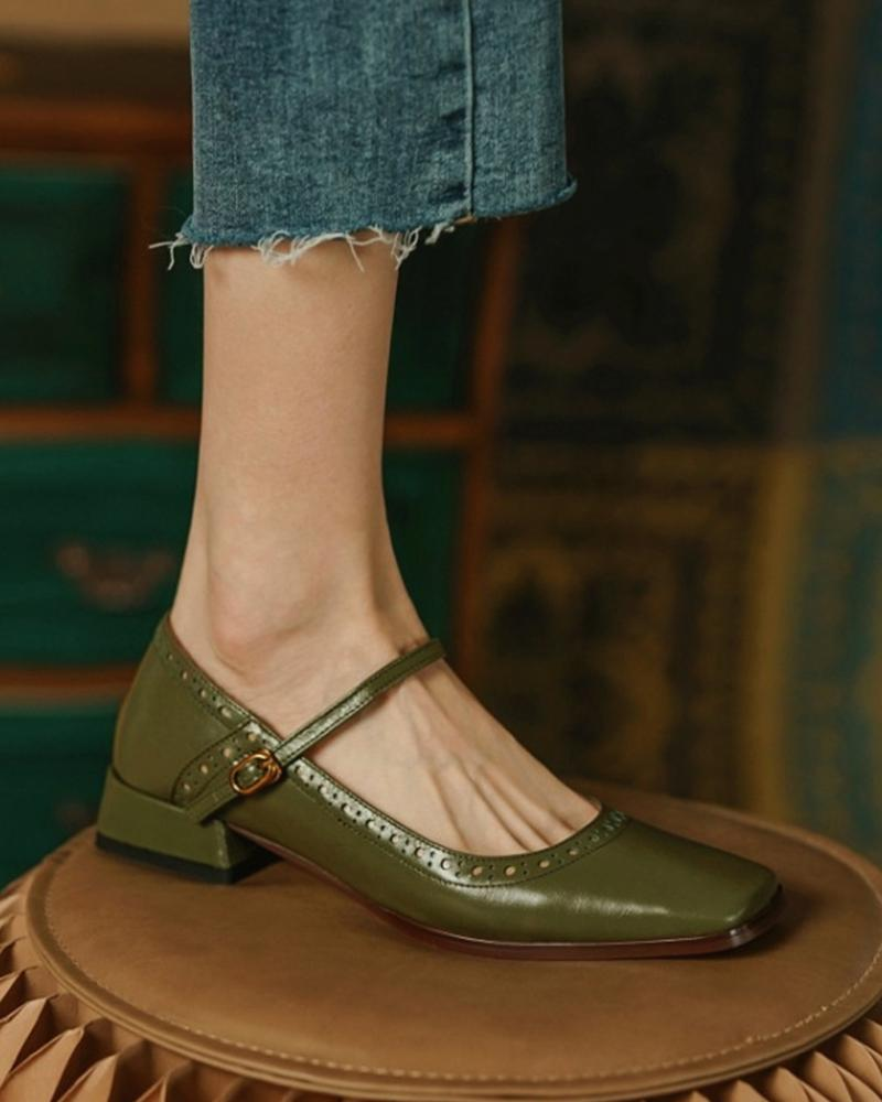 Square Toe Hollow Out Buckled Chunky Heels