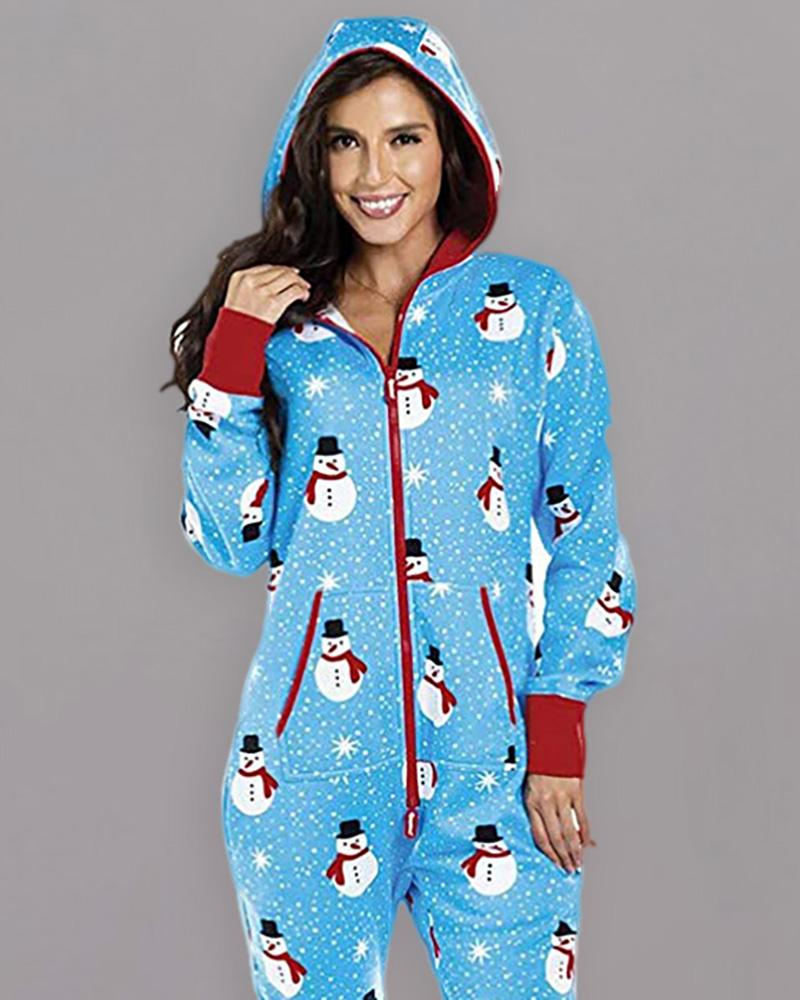 Christmas Hooded Long Sleeve Casual Jumpsuit
