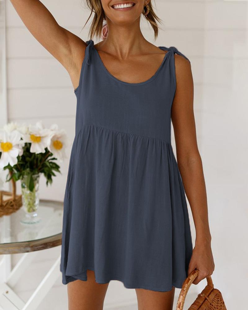 Tied Detail Sleeveless Casual Dress