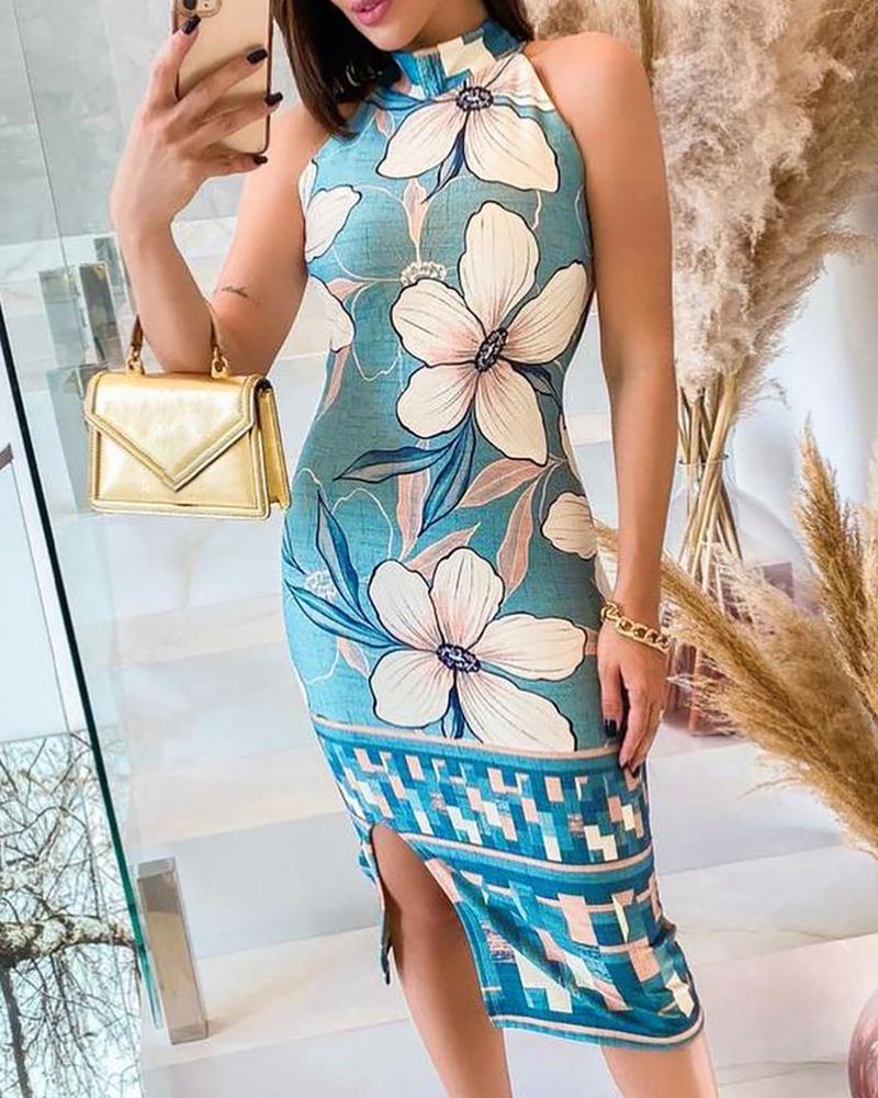 Floral Print Sleeveless Slit Dress