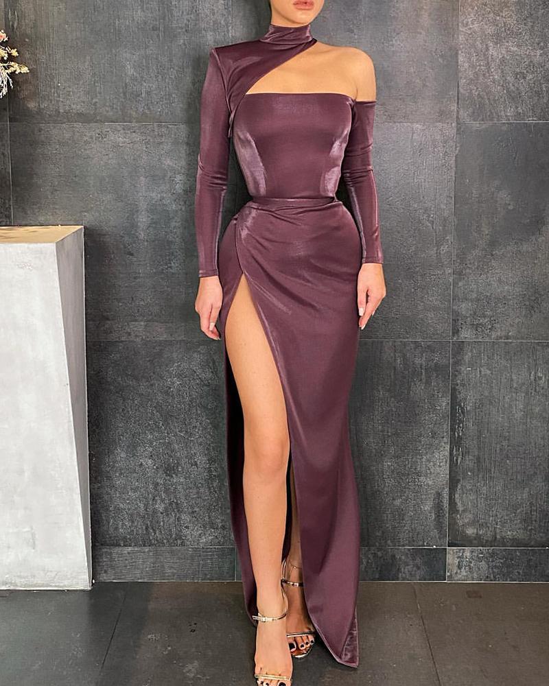 One Shoulder High Slit Zipper Back Skinny Dress