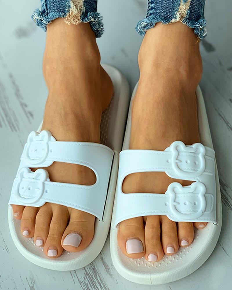 Bear Pattern Buckled Flat Sandals