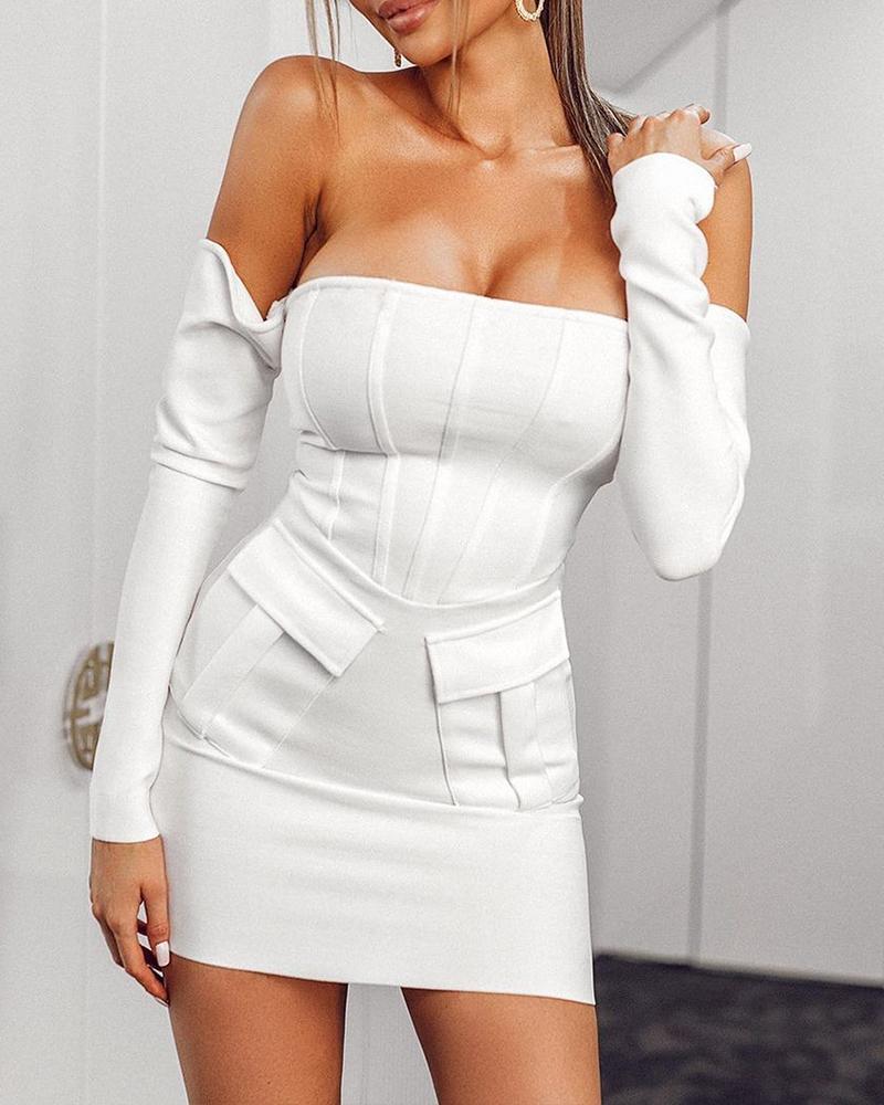 Off Shoulder Pocket Design Corset Bodycon Dress