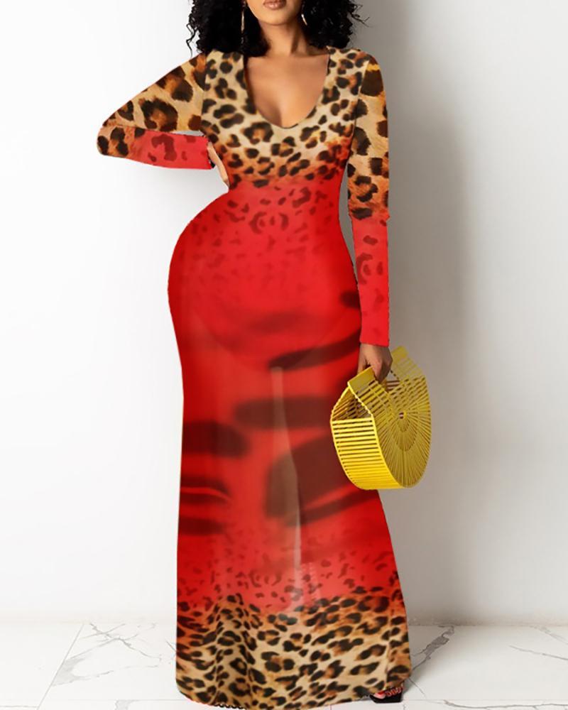 Cheetah Print Colorblock Long Sleeve Maxi Dress