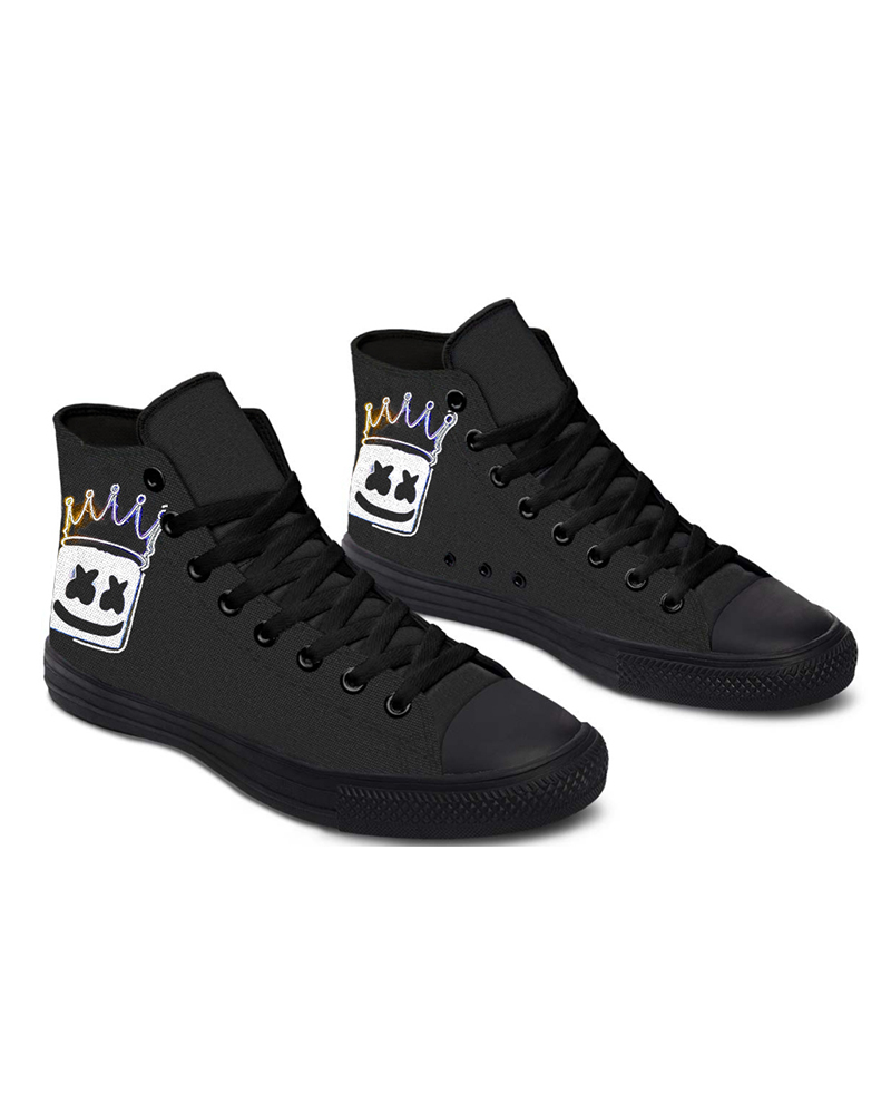 Womens Crown Smile Print Lace-up High Top Canvas Casual Shoes, Black