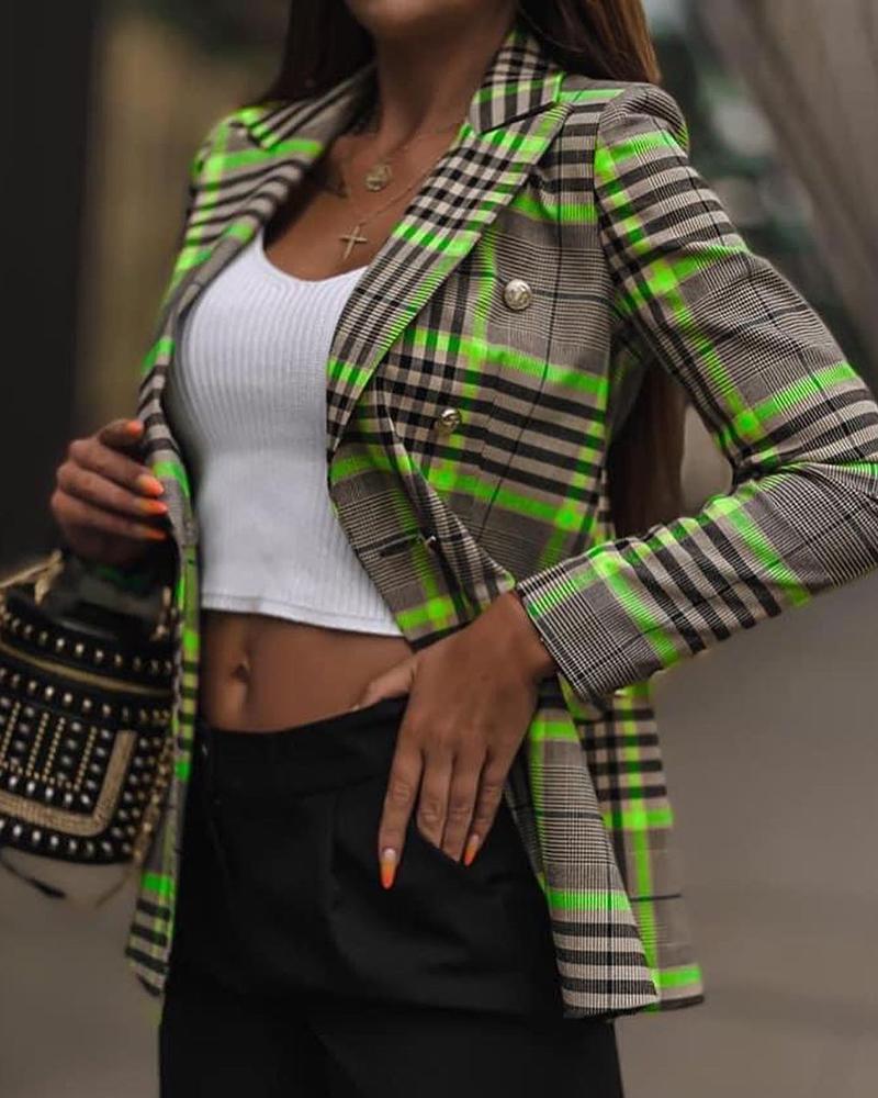 Plaid Print Colorblock Buttoned Blazer Coat