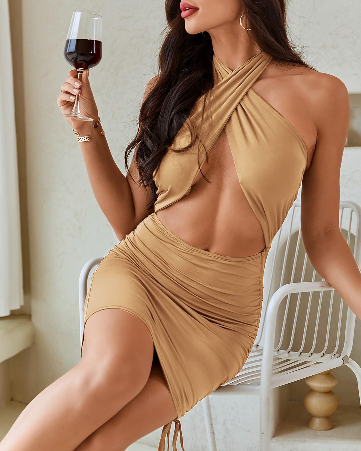 Solid Sleeveless Halter Skinny Cut-out Mini Dress thumbnail