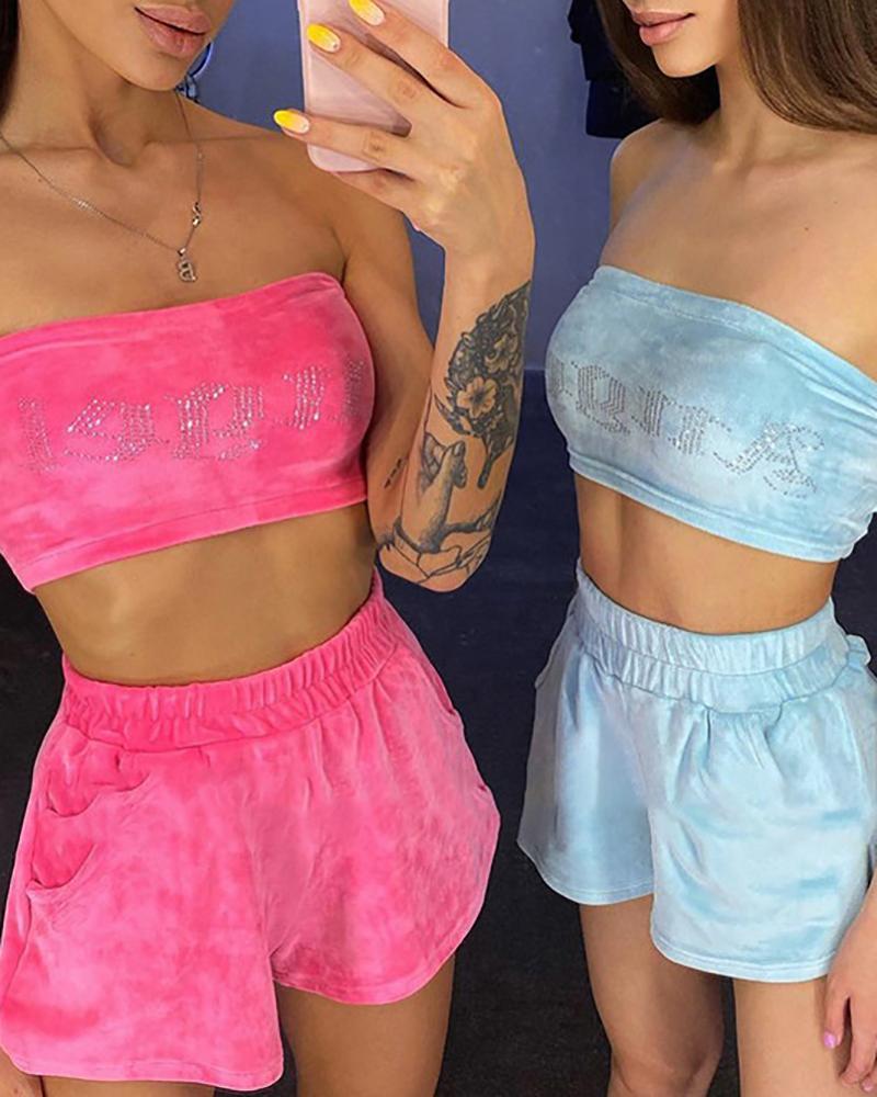 Bandeau Letter Pattern Studded Velvet Crop Top & Shorts Set
