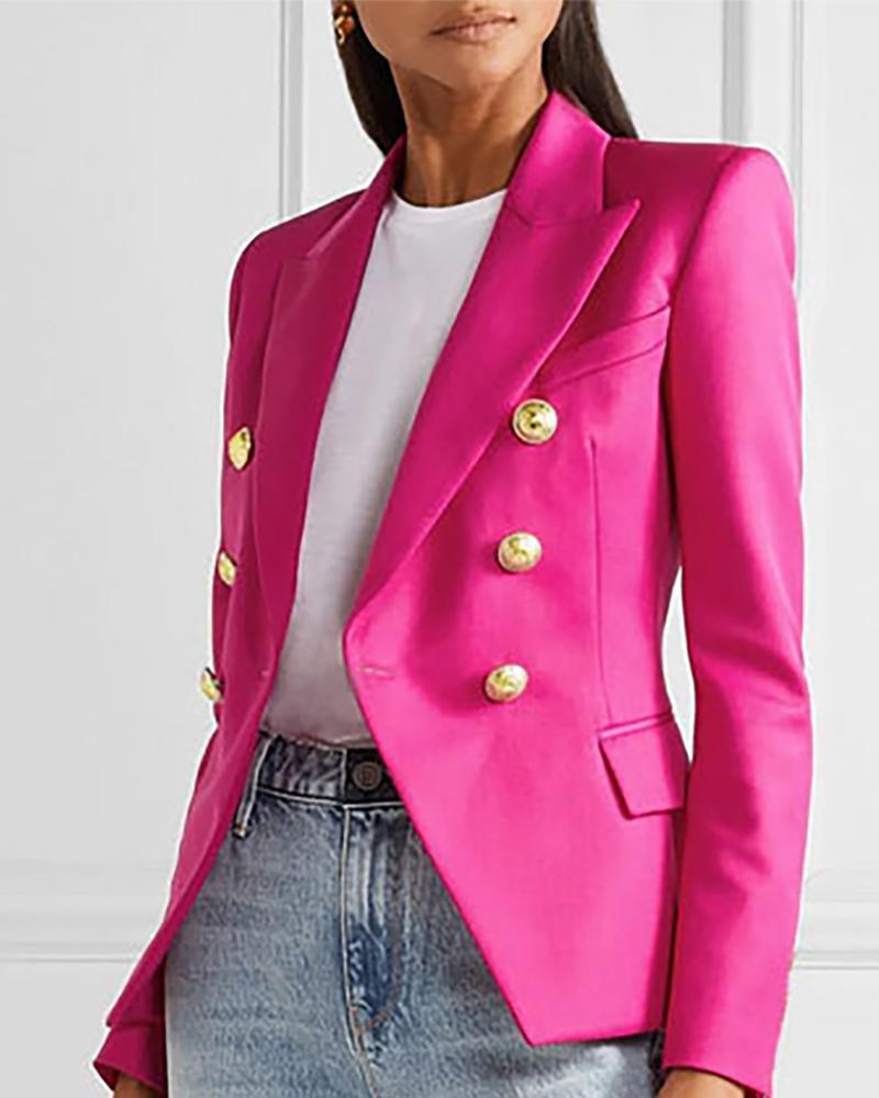Houndstooth Print Buttoned Blazer Coat