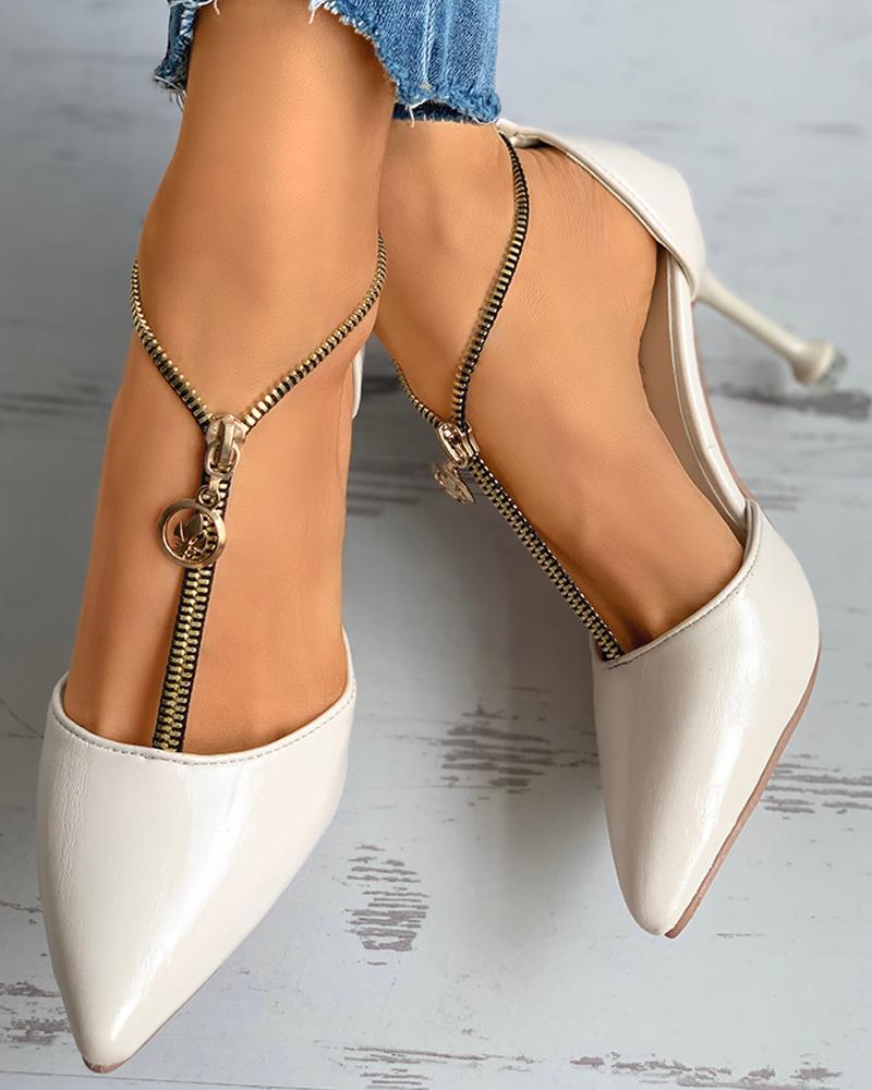 Zipper Design Pointed Toe Stiletto Heel