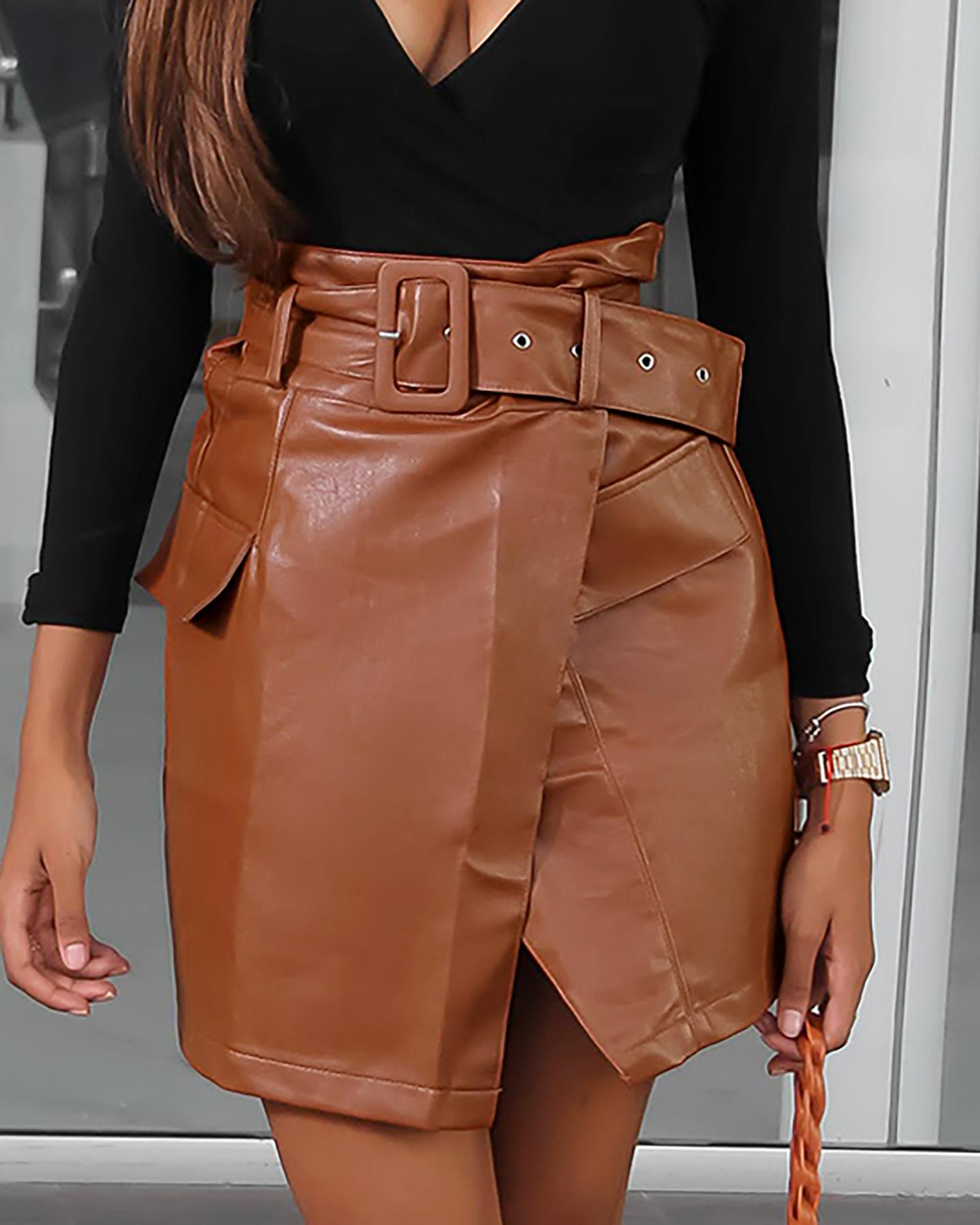 Pocket Design Slit Leather PU Skirt